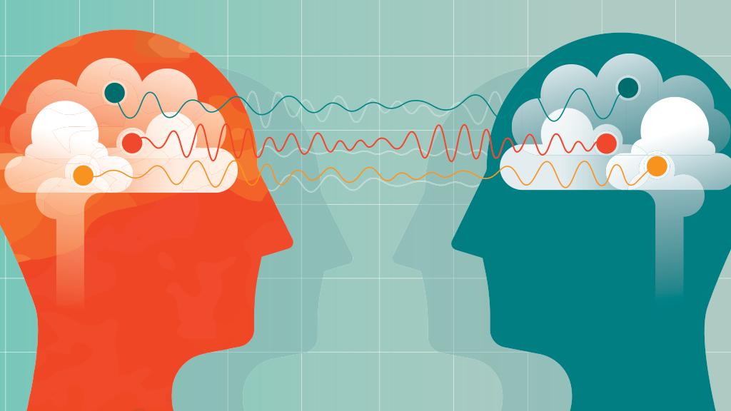 Two people brainstorming (illustration)