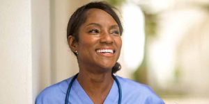 African-American nurse smiling